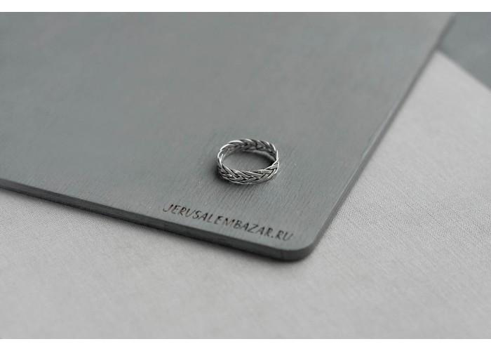 кольцо плетеная коса //  родированный сплав
