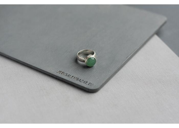 кольцо с круглым авантюрином // серебро