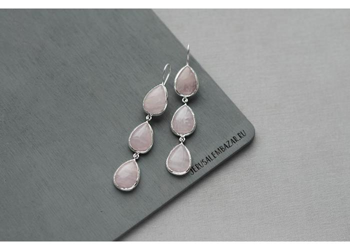 серёжки с каплями розового кварца // серебро
