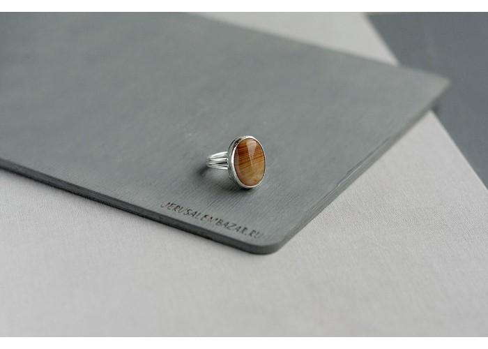 кольцо овальное с агатом // серебро