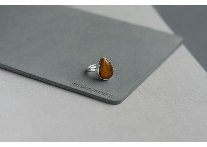 кольцо с каплей тигрового глаза // серебро