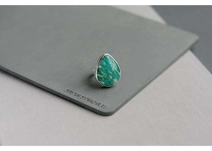 кольцо-капля с амазонитом // серебро