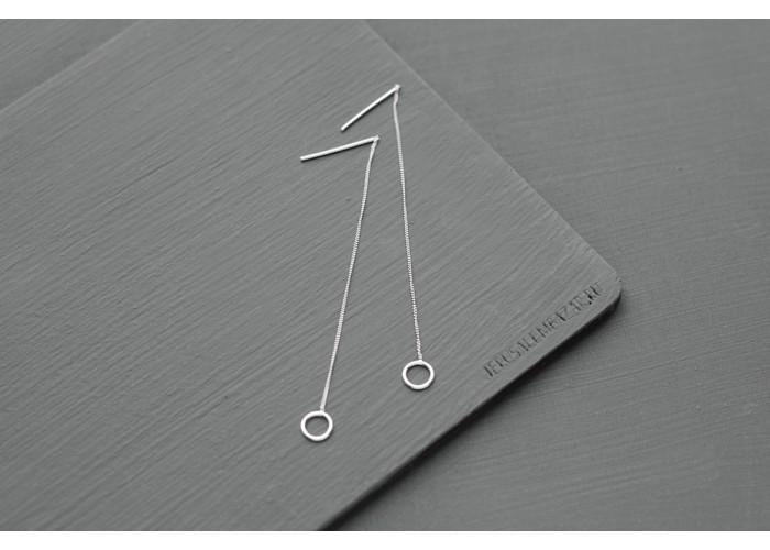 сережки-цепочки с кругом // серебро