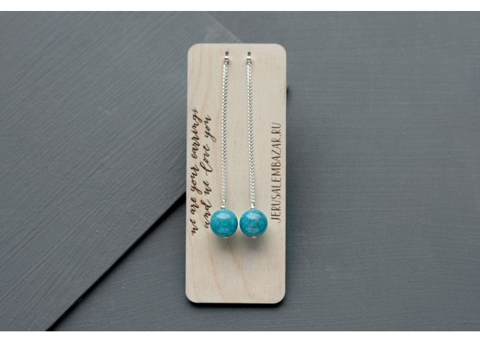 серёжки-пины с бусиной голубого кварца // серебро