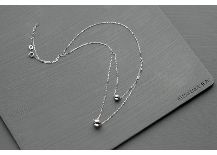 подвеска с двумя серебряными бусинами // серебро