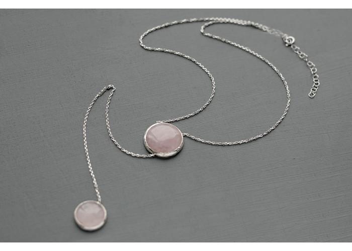сотуар с кругами из розового кварца // серебро