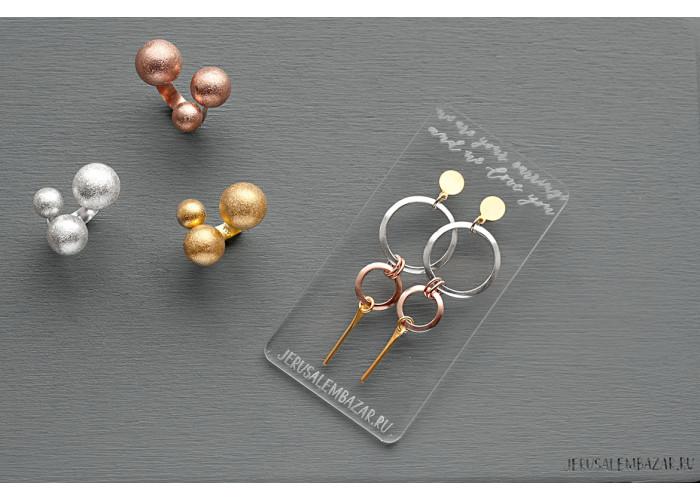 кольцо с тремя шариками // розовая позолота