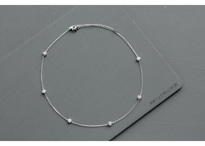 чокер с круглыми фианитами // серебро