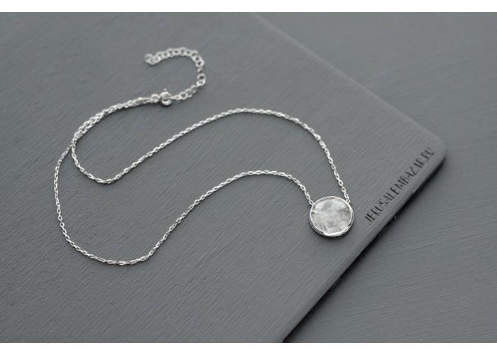 подвеска круглая с горным хрусталём // серебро