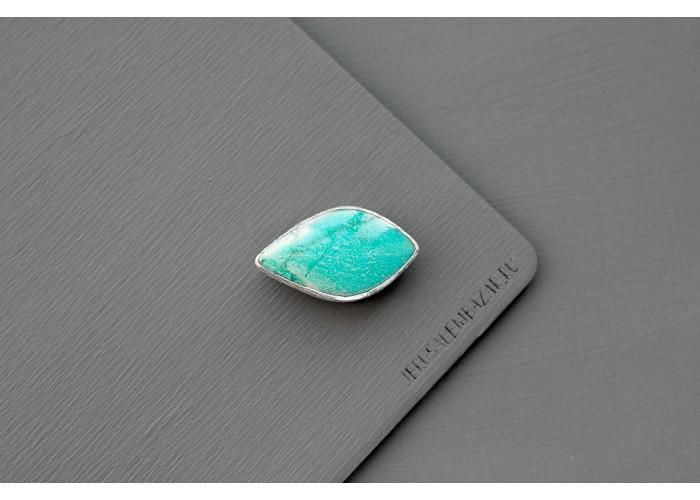 брошь с листиком амазонита // серебро