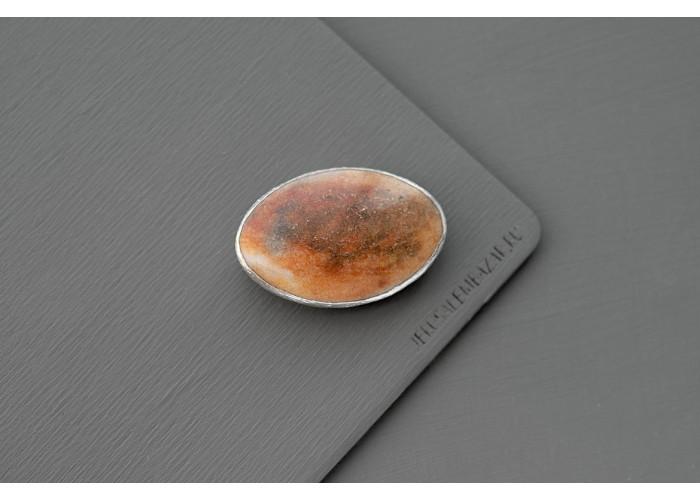 брошь овальная с коричневым авантюрином // серебро