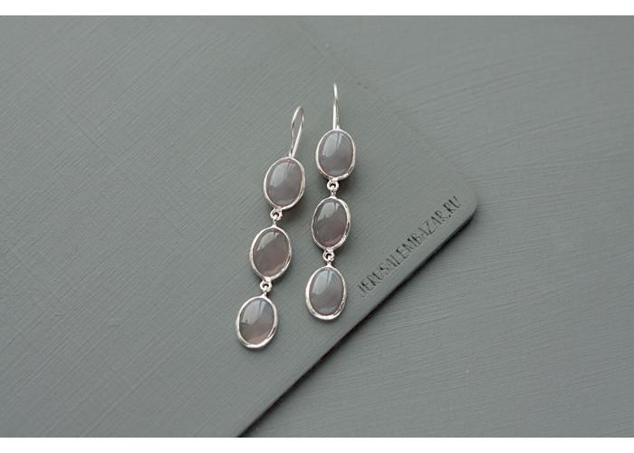 серёжки с тремя камнями дымчатого кварца // серебро