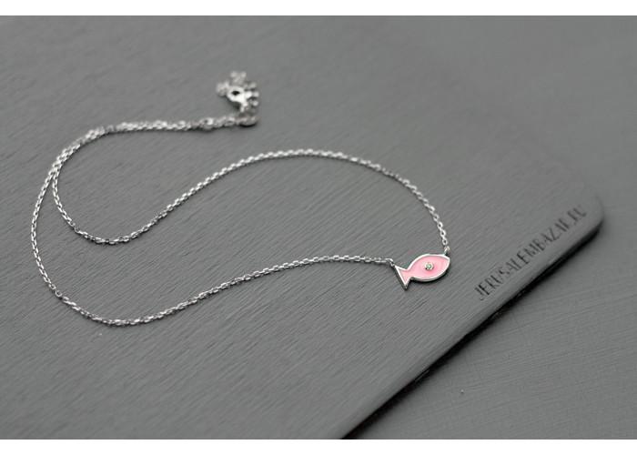 подвеска с розовой рыбкой // серебро
