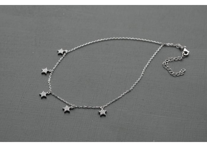 Чокер со звёздочками с фианитами // серебро