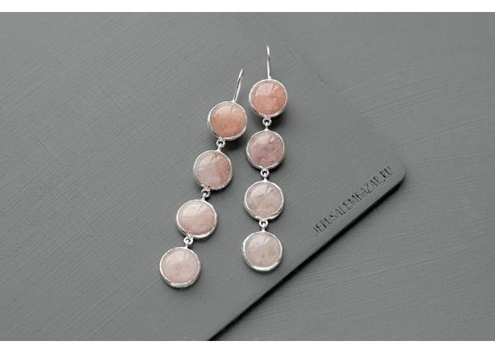 серёжки с круглыми камнями морганита // серебро