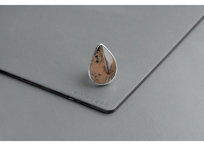 кольцо с каплей коричневого мохового агата // серебро