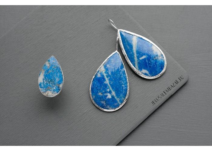 комплект: серёжки и кольцо с каплей лазурита // серебро