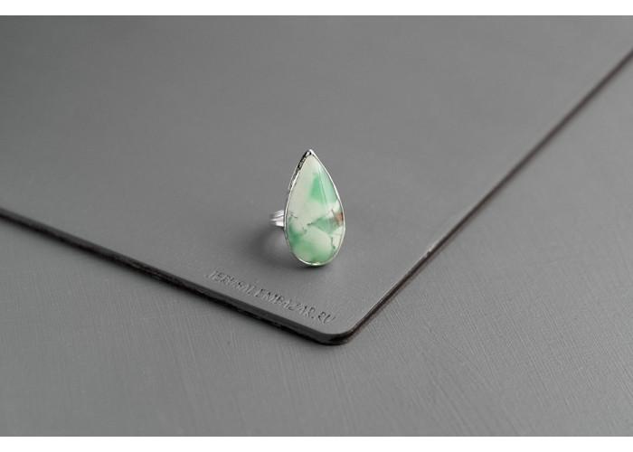 кольцо с каплей хризопраза // серебро