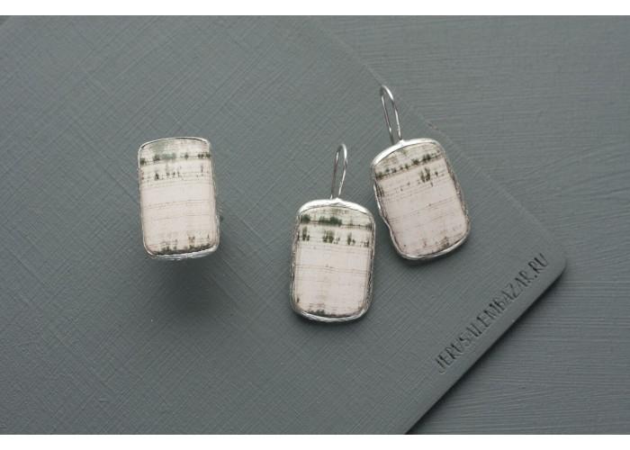 комплект: серёжки и кольцо прямоугольное со скарном // серебро