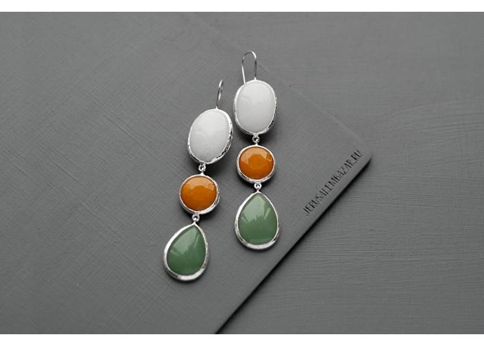 серёжки с белым агатом, оранжевым агатом и авантюрином // серебро