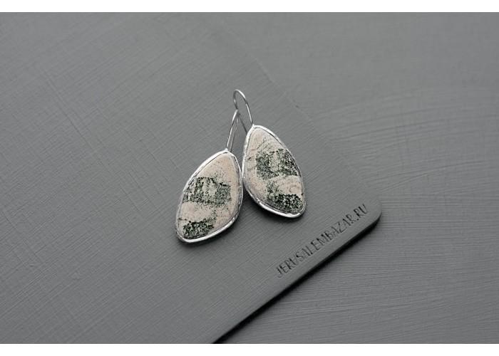серёжки с листиком скарна // серебро