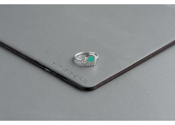 кольцо слоник с бирюзовой эмалью // серебро