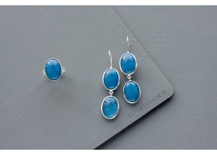 комплект: кольцо и серёжки с голубым жадеитом // серебро