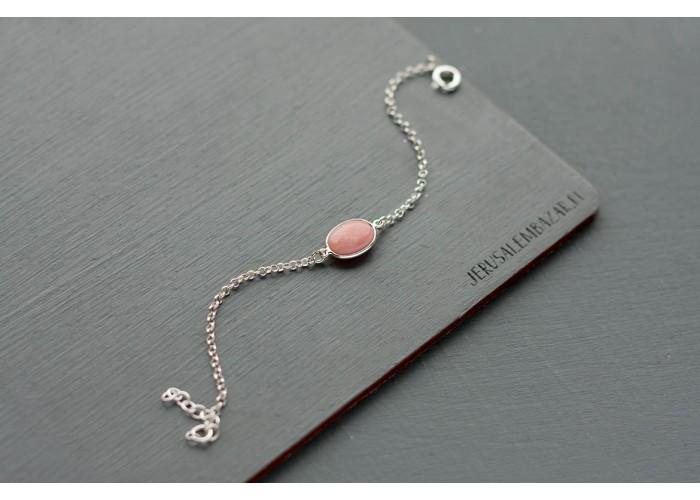 браслет на цепочке с розовым опалом // серебро