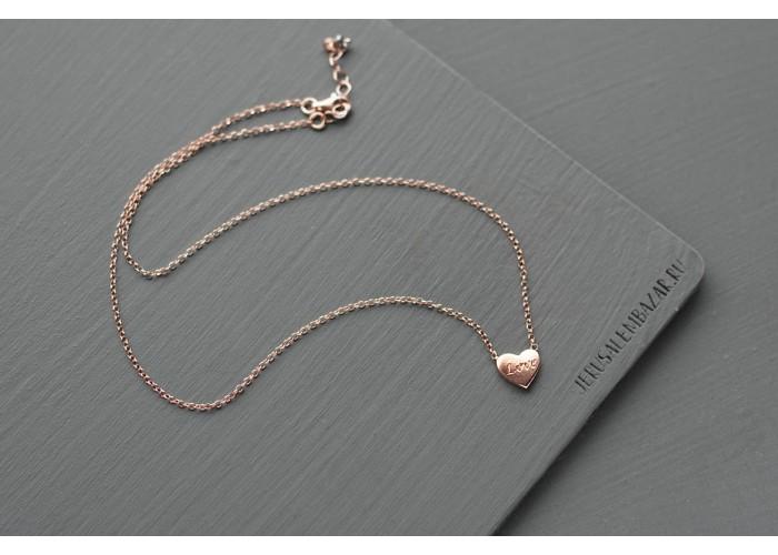 подвеска на цепочке с сердцем // розовая позолота