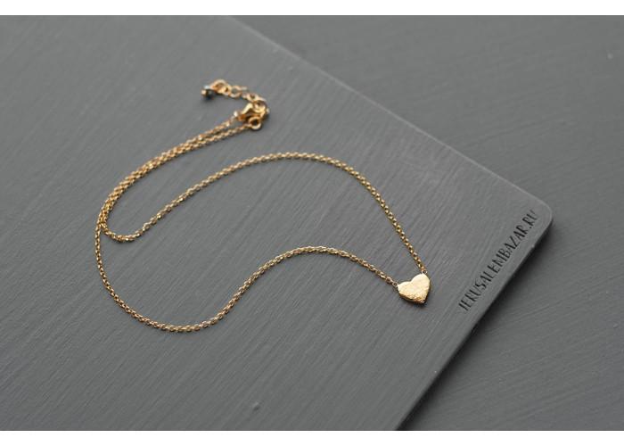 подвеска на цепочке с сердцем // позолота