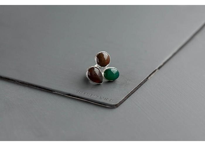 кольцо с дымчатым кварцем, яшмой и зелёным агатом // серебро