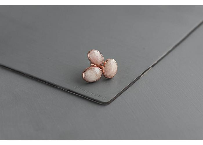 кольцо с овальными морганитами // розовая позолота
