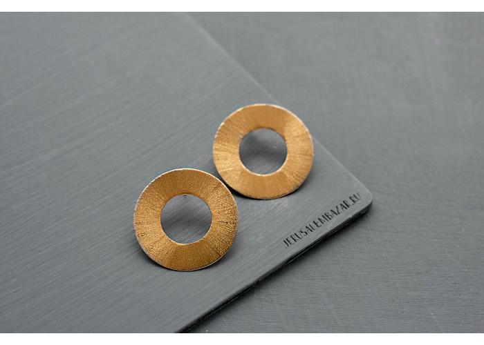 серёжки-диски // позолота