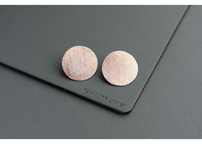 серёжки-гвоздики диски // розовая позолота