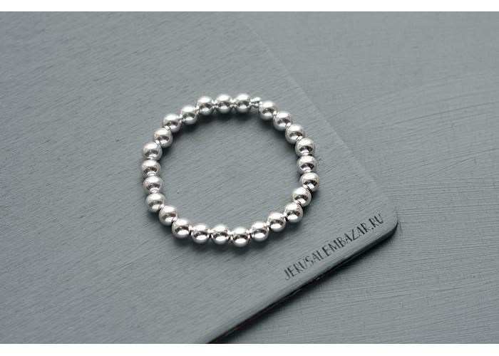 браслет сплошной с серебряными бусинами