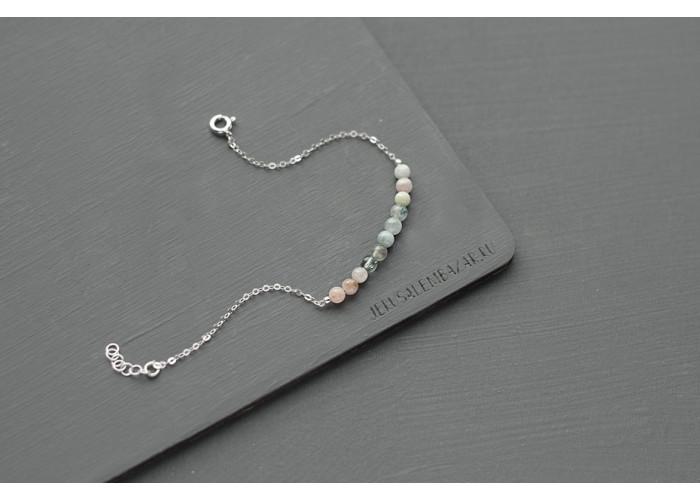 браслет на цепочке с маленькими бусинами берилла // серебро