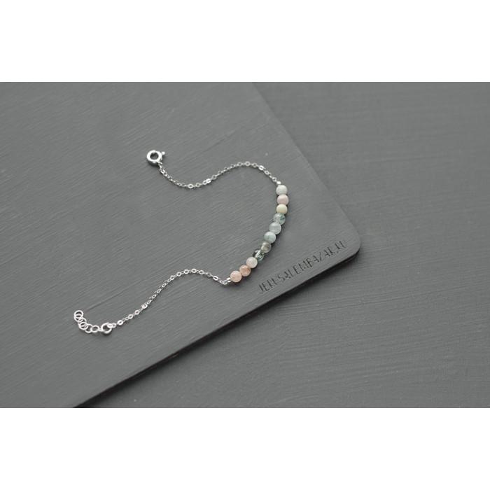 35646f438a62 браслет на цепочке с маленькими бусинами берилла    серебро