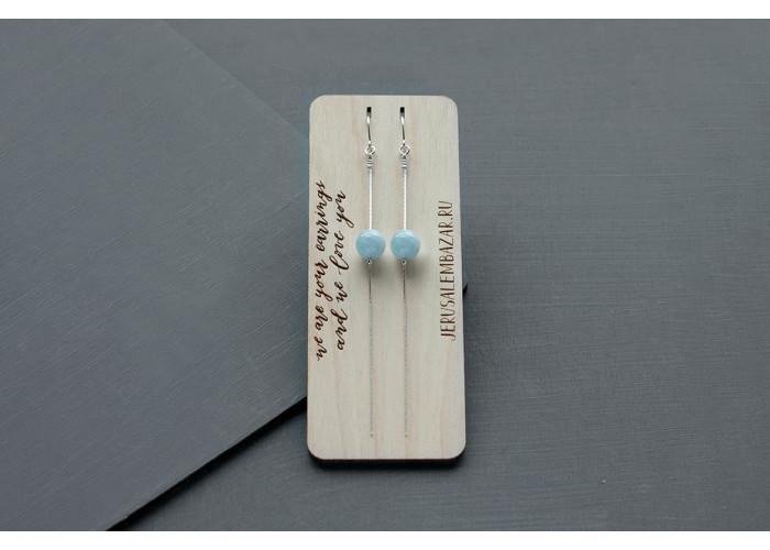 серёжки-цепочки с бусиной аквамарина // серебро