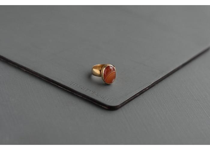 кольцо овальное с оранжевым агатом // позолота