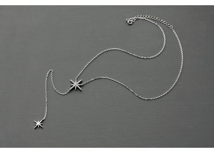 сотуар с двумя звёздочками с фианитами // серебро