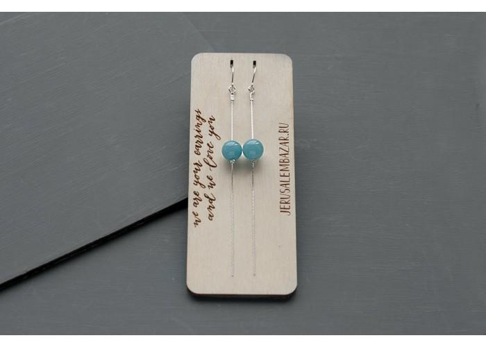 серёжки-цепочки с бусиной голубого кварца // серебро