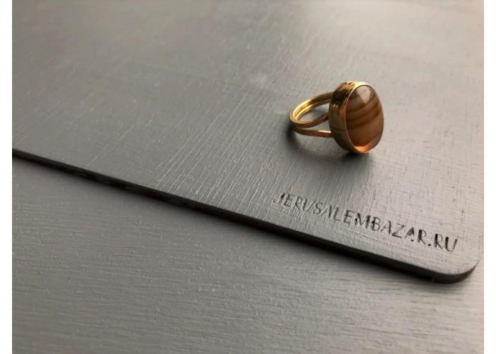 кольцо овальное с агатом // позолота