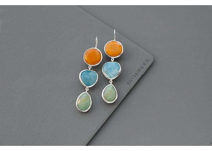 серёжки с оранжевым агатом, голубым кварцем и амазонитом // серебро