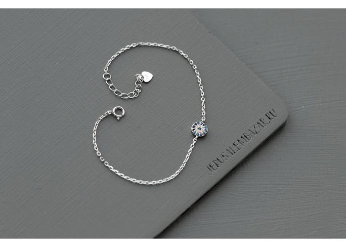 браслет на цепочке с белыми и синими фианитами // серебро