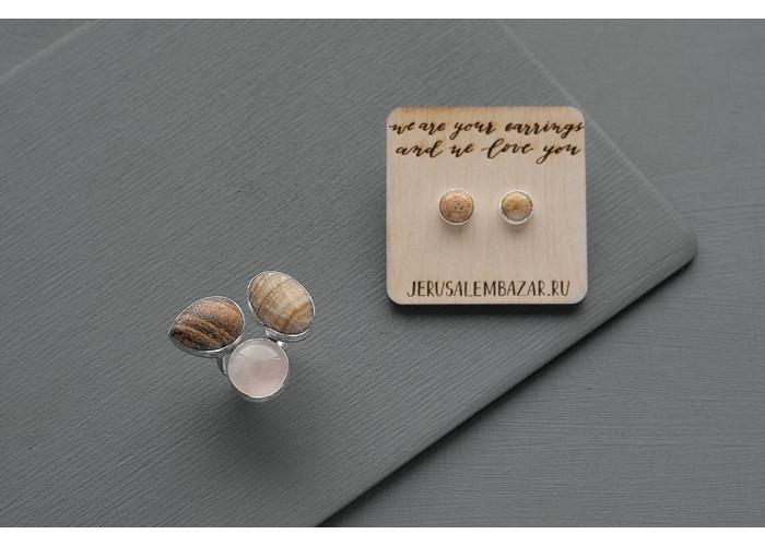 комплект: серёжки-пусеты с яшмоагатом и кольцо с кальцитом и розовым кварцем // серебро