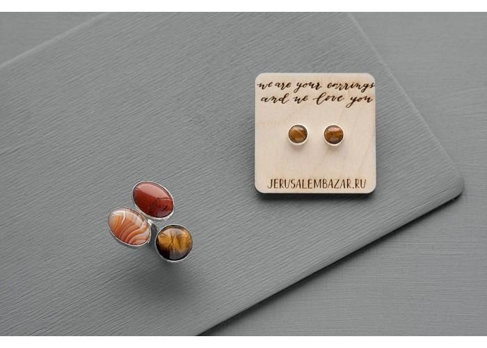 комплект: серёжки-пусеты с тигровым глазом и кольцо с тигровым глазом, яшмой и агатом // серебро