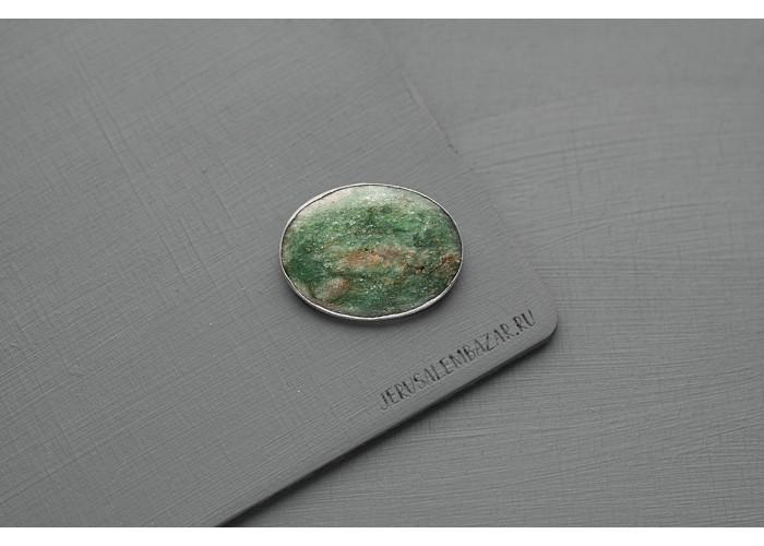 брошь овальная с зелёным фукситом // серебро
