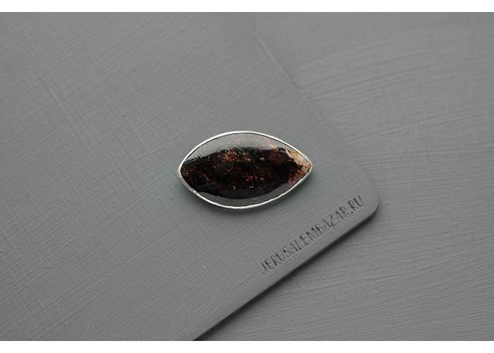 Брошь с листиком астрофиллита // серебро