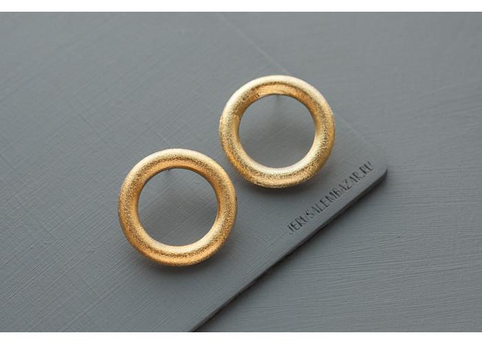 Серёжки-гвоздики кольца // позолота
