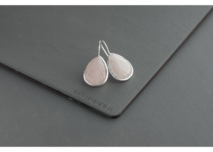 серёжки с крупной каплей розового кварца // серебро